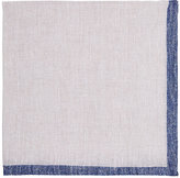 Fairfax Men's Bordered Slub-Weave Linen Pocket Square-LIGHT GREY, BLUE
