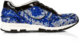 Lanvin Sequin-embellished and patent-leather trainers