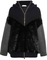 Stella McCartney Oversized Faux Fur-paneled Ribbed Wool Hooded Cardigan - Navy