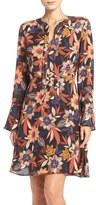 ECI Floral Print Tie Neck Shift Dress
