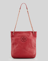 Tory Burch Marion Leather Book Bag, Rouge Red