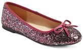Cherokee Girls' Fleta Glitter Ballet Flat Burgundy