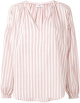 Closed striped V-neck blouse