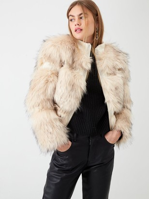 River Island Faux Fur Panelled Short Jacket- Cream