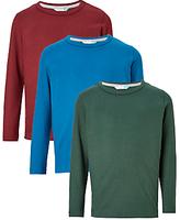 John Lewis Boys' Long Sleeve T-Shirt, Pack of 3, Green/Blue/Burgundy