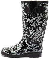 Gumboots Flower Black-white Boots Womens Shoes Comfort Calf Boots