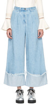 Edit Blue Cuffed Denim Culottes