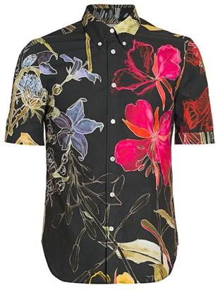 Alexander McQueen Short-Sleeve Floral Cotton Shirt