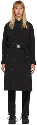 A-Cold-Wall* Black Double-Breasted Trench Coat