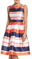 Eliza J Petite Women's Stripe Fit & Flare Dress