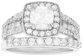 Journee Collection 7/8 CT. T.W. Cushion-cut Cubic Zirconia Bridal-style Basket Set Ring Set in Sterling Silver - Silver