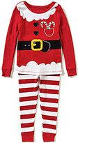 Komar Kids Little Girls 2T-4T Santa Top and Striped Pants Pajama Set