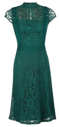 Dorothy Perkins Womens Green Shirred Neck Lace Midi Dress, Green