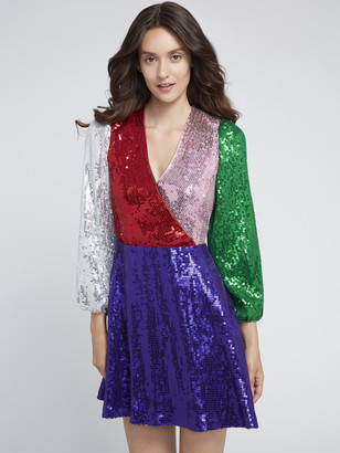 Alice + Olivia Blaze Sequin Color Block Mini Dress
