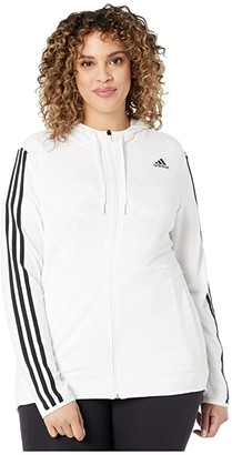 adidas Plus Size 3 Stripe Training Full Zip Hoodie Jacket (Tech Indigo) Women's Coat