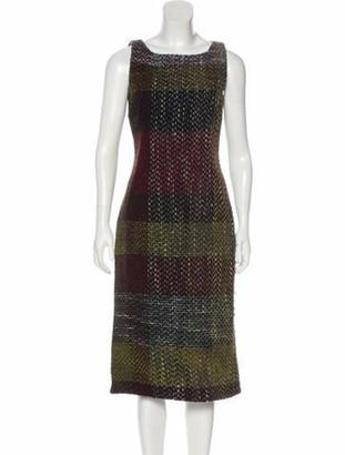 Dolce & Gabbana Virgin Wool Tweed Dress Olive