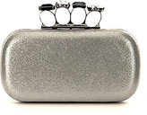 Kate Landry Ring-Top Metallic Frame Clutch