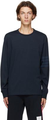 Thom Browne Navy 4-Bar Rugby Long Sleeve T-Shirt