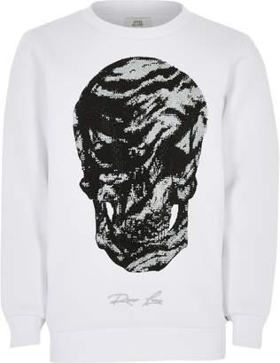 River Island Boys White skull studded sweatshirt