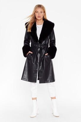 Nasty Gal Womens I'm That Girl Faux Fur Collar Trench Coat - black - 4