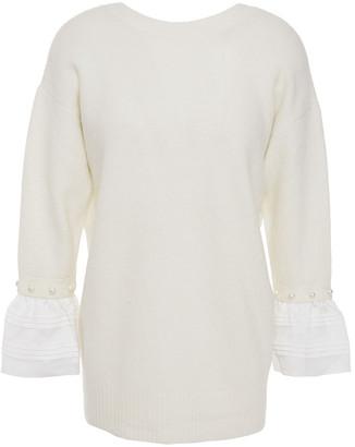 3.1 Phillip Lim Satin-trimmed Embellished Brushed Knitted Sweater
