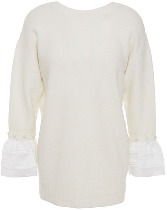 3.1 Phillip Lim Twill-paneled Faux Pearl-embellished Knitted Sweater