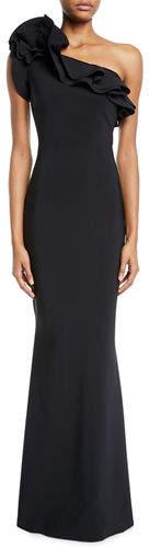 Chiara Boni Elisir One-Shoulder Ruffle Gown