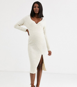 Asos DESIGN Maternity knit rib midi dress with wrap detail-Stone