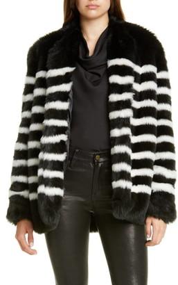 Frame Jerry Stripe Faux Fur Coat