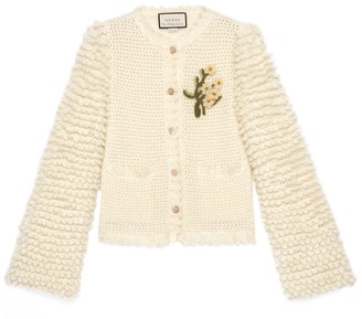 Gucci Petit mohair cardigan with floral brooch