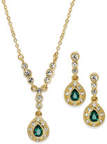 Charter Club Gold-Tone Green Stone Teardrop Earrings and Pendant Necklace