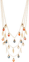 Fragments for Neiman Marcus Layered Howlite-Beaded Triple-Strand Necklace, Gold/Turquoise/Carnelian