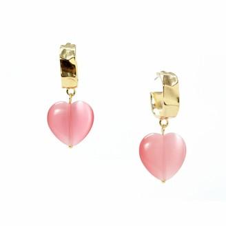 Serena Cat's Eye Heart Drop Half Hoop Earrings - Baby Pink
