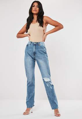 Missguided Blue Wrath High Waisted Busted Knee Jeans