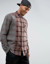 Asos Oversized Overdyed Check Shirt With Cut And Sew