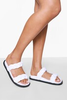 Thumbnail for your product : boohoo Leather Woven Double Strap Footbed Slider