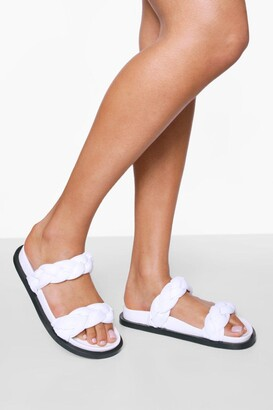 boohoo Leather Woven Double Strap Footbed Slider