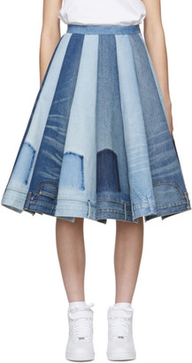 Junya Watanabe Indigo Denim Mix Panelled Skirt