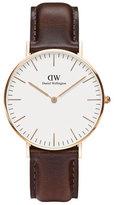 Daniel Wellington 36mm Classic Bristol Watch in Rose Golden/White/BRown