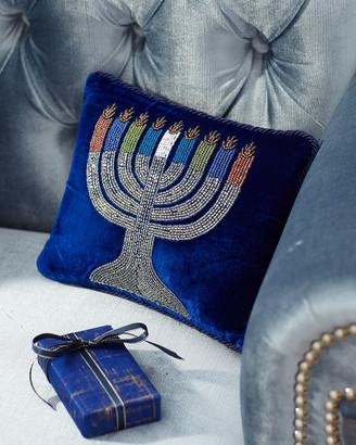 Sudha Pennathur Velvet Beaded Menorah Pillow
