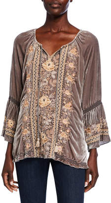 Johnny Was Plus Size Marushka Floral-Embroidered Velvet Flare-Sleeve Top
