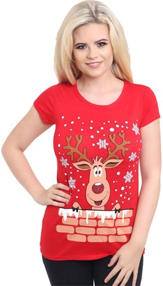 Candid Styles Womens Christmas Tops for Women Ladies Festive Tops Xmas Rudolf Reindeer Glitter Red Nose Printed T Shirt