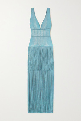 Herve Leger Fringed Metallic Bandage Gown - Blue