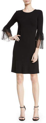 Michael Kors Lace Bell-Sleeve A-Line Stretch Matte Jersey Cocktail Dress