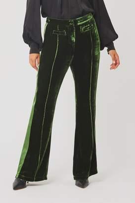 Ghost Womens London Emily Forest Green Velvet Trousers - Green