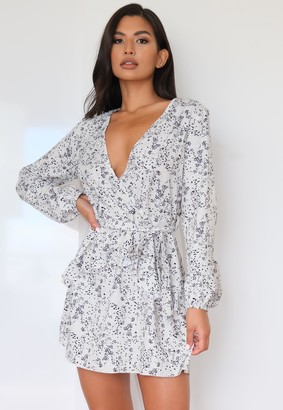 Missguided Stone Ditsy Floral Wrap Frill Mini Dress
