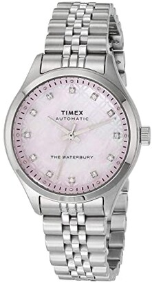 Timex 35 mm Waterbury Auto Silver Case Pink Mother-of-Pearl Dial Silver Bracelet (Silver/Pink/Silver) Watches
