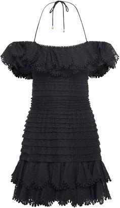 Zimmermann Super Eight Off-the-shoulder Embroidered Linen And Silk-blend Mini Dress