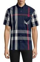 Burberry Men's Plaid Short Sleeve Sport Shirt