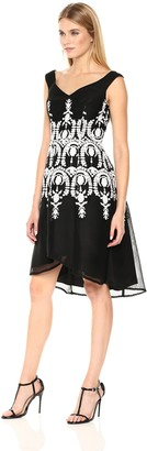 Adrianna Papell Women's Neoprene Fit and Flare Dress with Mesh and Embroidery